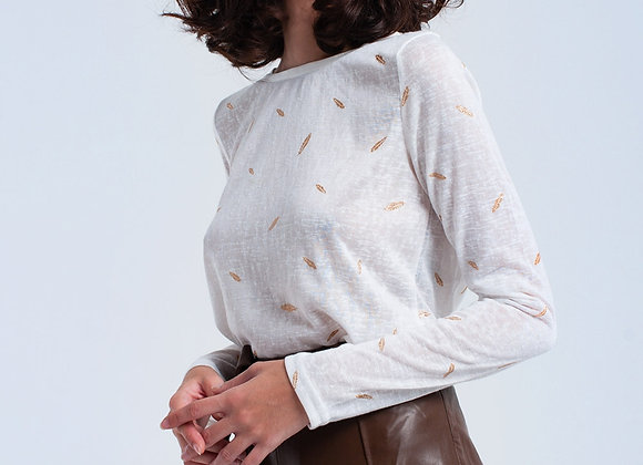 Cream Sweater With Printed Detail