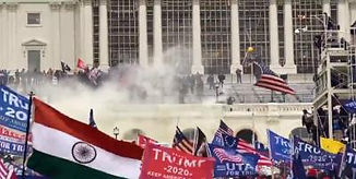 Crowds of Trump Supporters around the Capitol Building, US