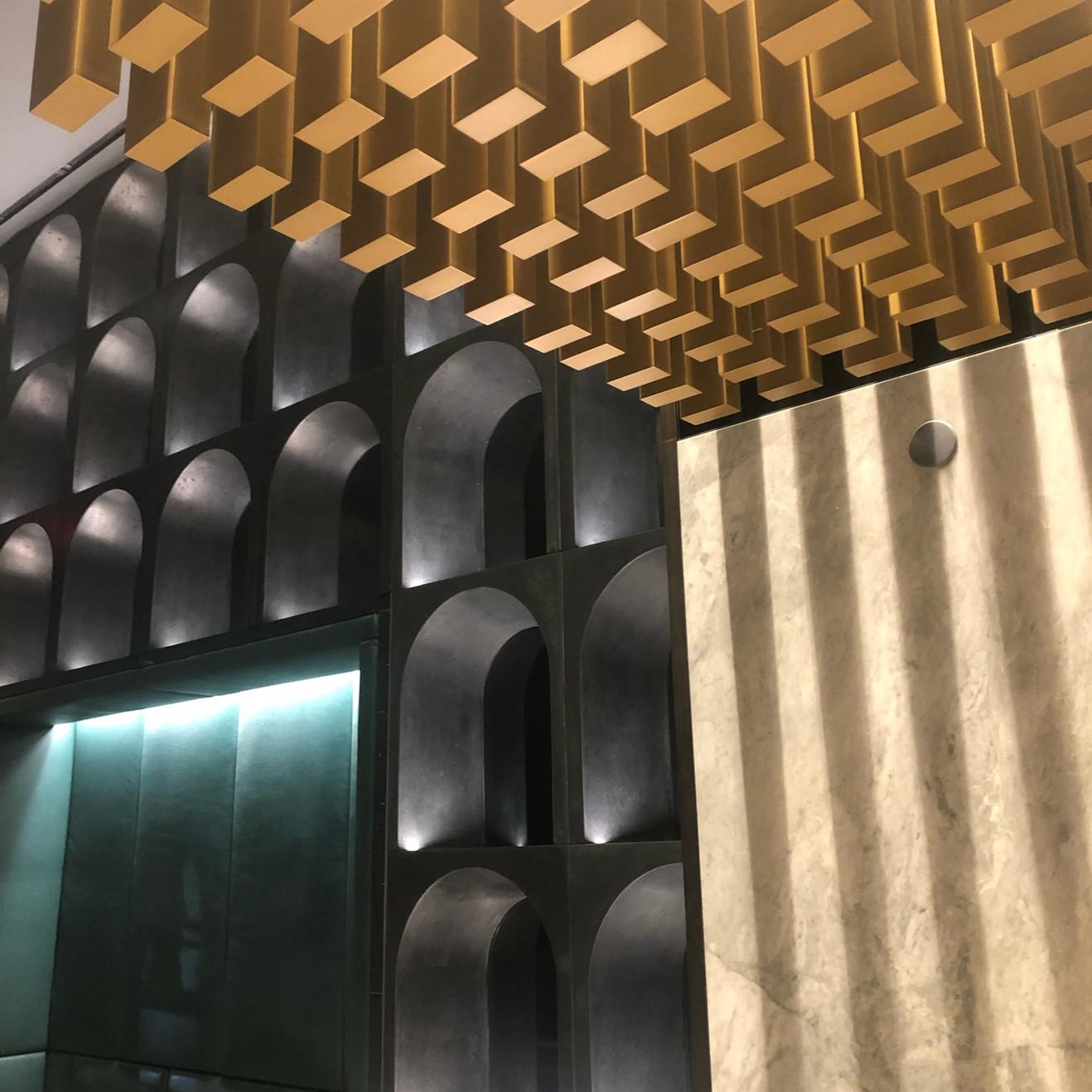 concrete book case,building lobby,NYC