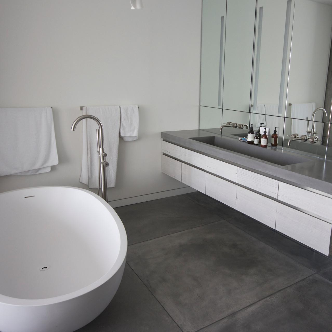 Concrete floor and sink