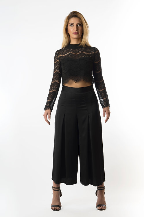 Pany pleated wide leg trousers