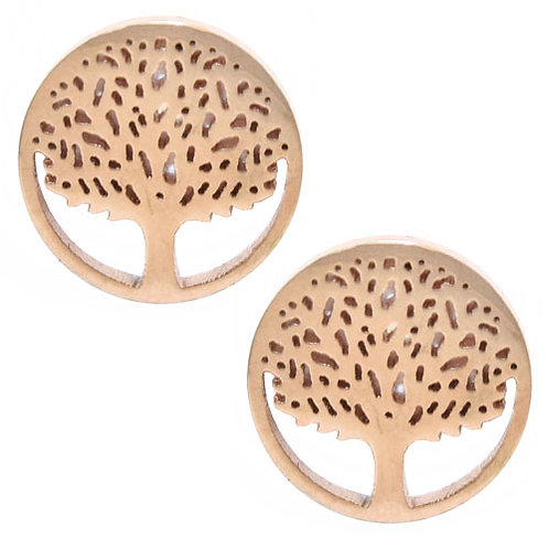 Gold Encircled Stud Tree Earrings