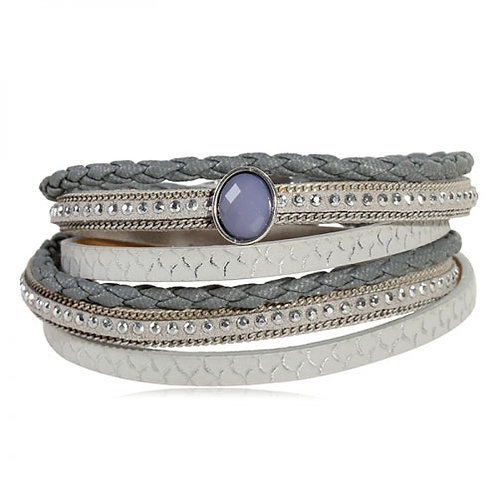 Silver-leather Bracelet