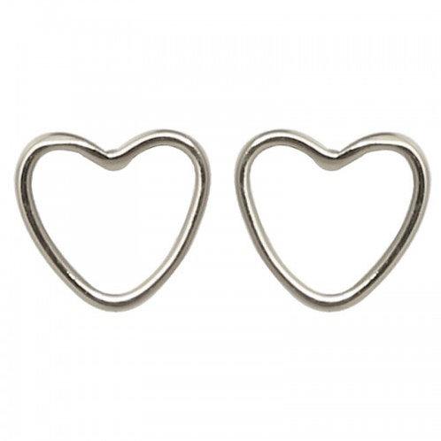 Silver Heart Stud Earring