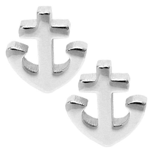 Silver Tiny Anchor Stud Earring