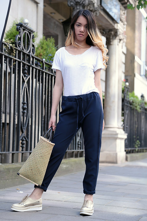 Pamela pants with elastic and drawstring at waist