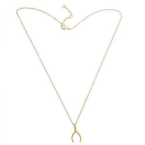 Gold Wishbone Necklace