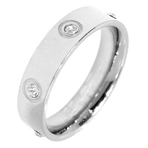 Love Ring with 6 Diamonds in Silver