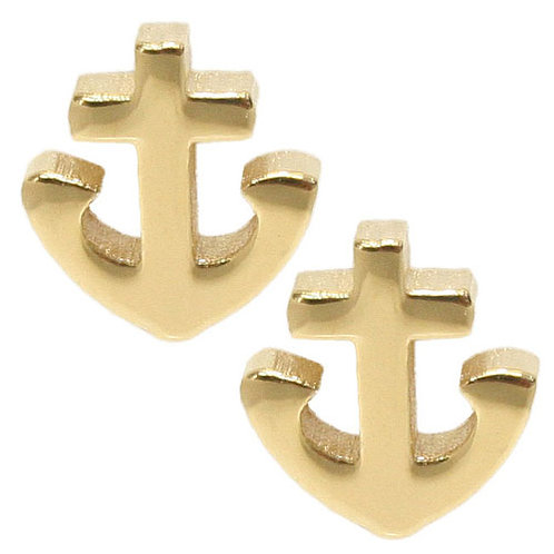 Gold Plated Tiny Anchor Stud Earring