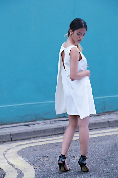 Anita boatneck open back ivory dress