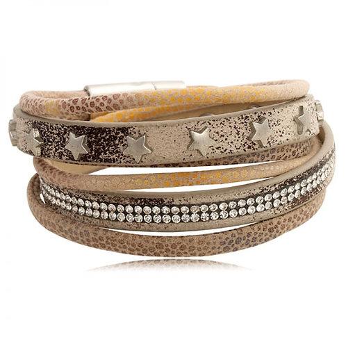 Brown Leather Star Bracelet
