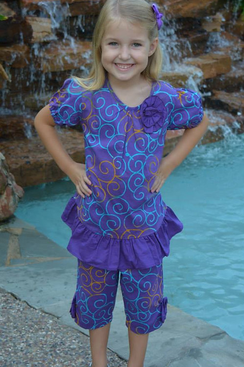 Purple Swirl Capri Set