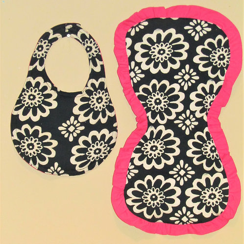 Black and Pink Flower Burp Cloth