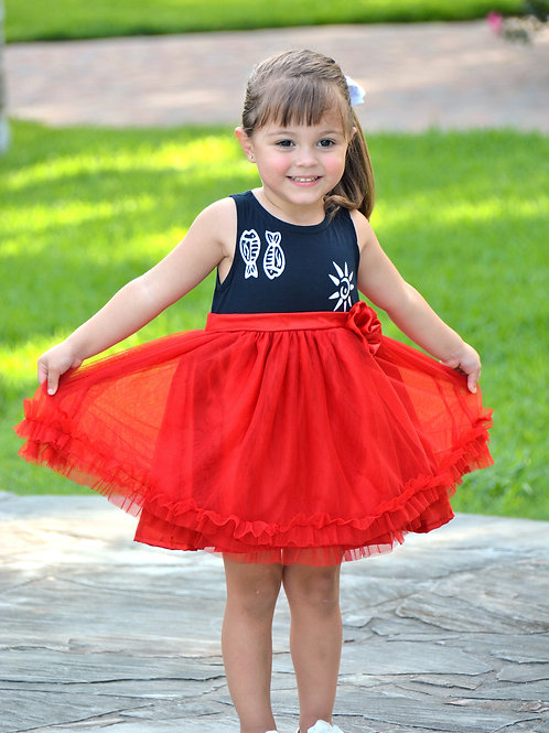 Red and Navy Sunfish Tulle Dress