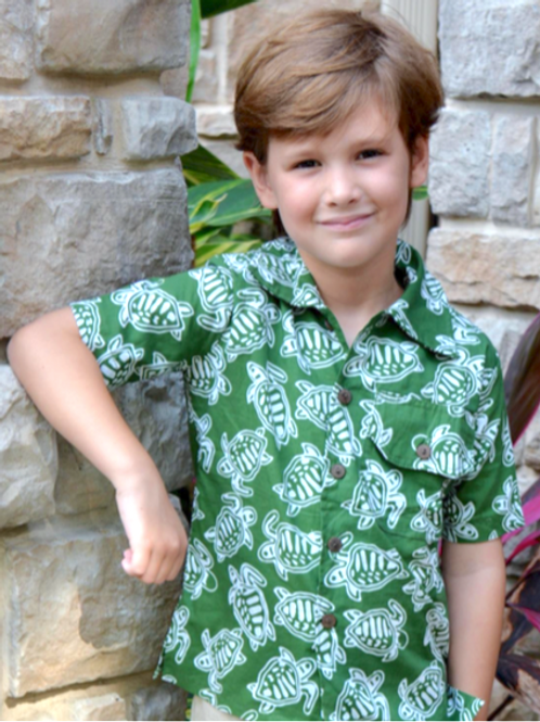 Sea Turtle Button Up with Shorts