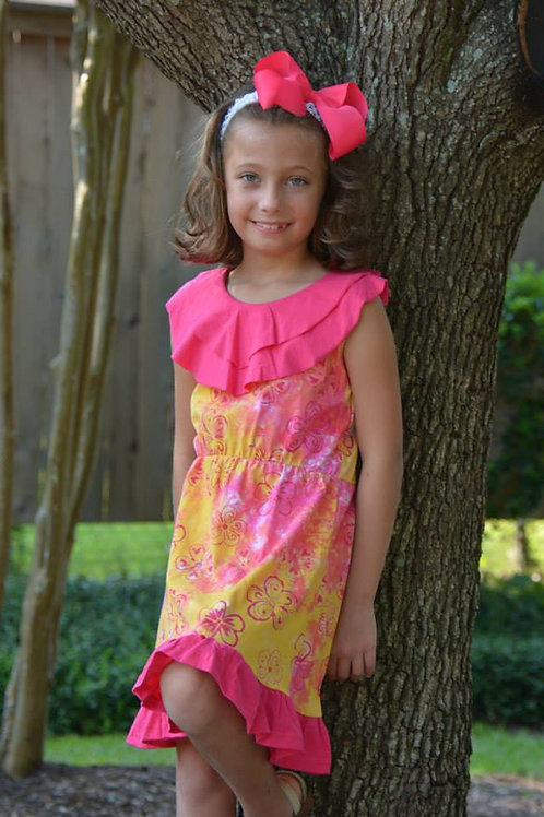 Yellow and Pink Flower Dress