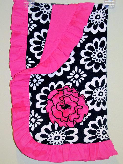 Black and Pink Flower Infant Blanket