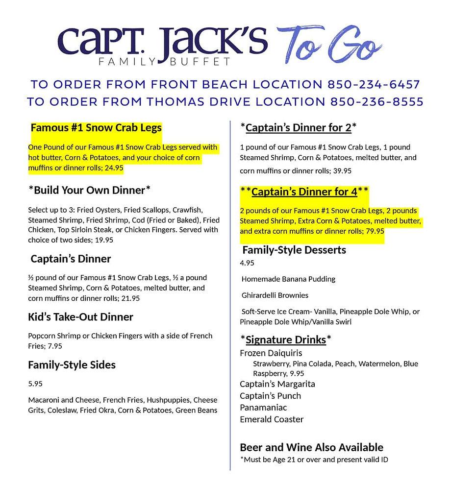 capt jacks family buffet to go menu