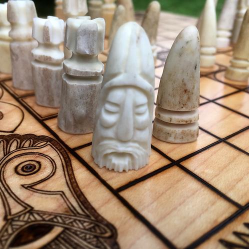 Carved Antler pawns: Upgrade item for Hnefatafl games, each set unique