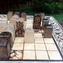 """Thrones & Bones"" hnefatafl w/ handcrafted custom pawns"