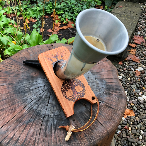 Drinking Horn Stand - a handcrafted prop for beverage horns