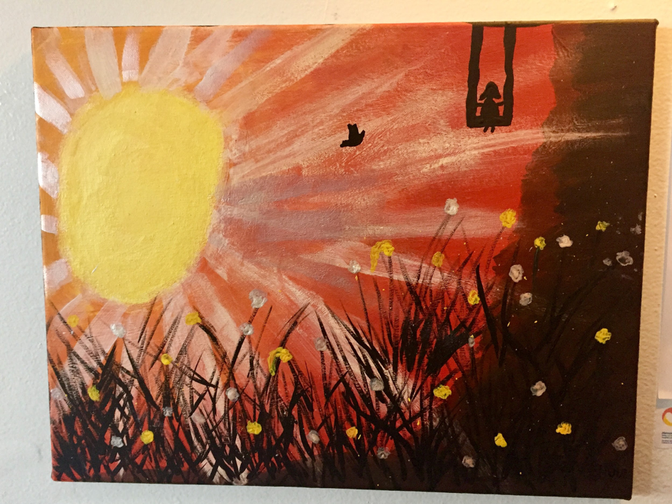 "Close up of Jennifer's piece, titled ""Endless Sunset"""