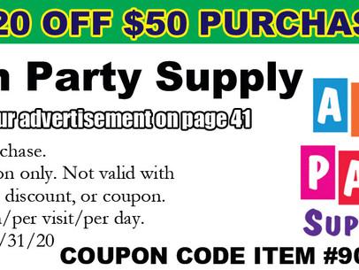 $20 OFF $50 at Alin Party Supply!