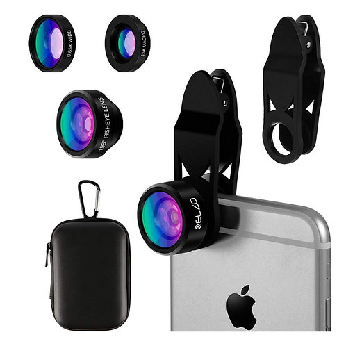 Elzo Fisheye Lens, 3 in 1 Clip-on Mobile Phone Camera Lens Kit