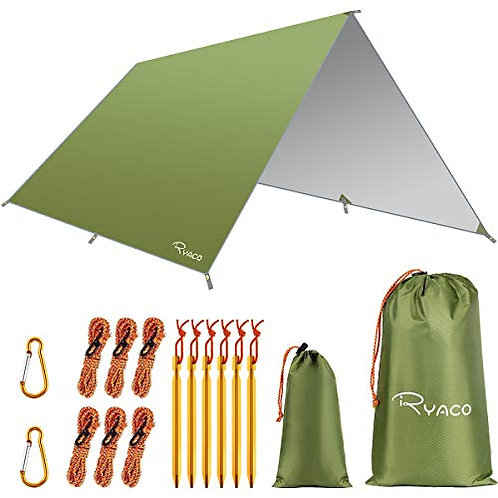 RYACO Hammock Rain Fly Tent Tarp, 3m x 4m Tarpaulin Portable Sunshade Lightweigh
