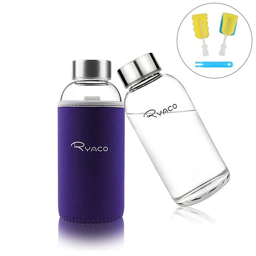 Ryaco Borosilicate Small Glass Water Bottle 360ml