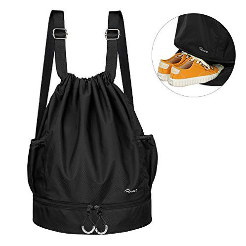 RYACO Waterproof Drawstring Backpack Bag with Shoe Compartment