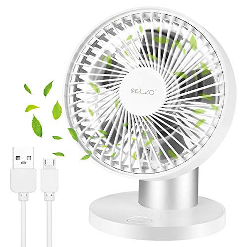 ELZO USB Fan, Mini Silent Electric Fan, Desk Fan Powered by USB 2600mAh White