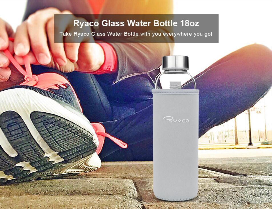 Ryaco Borosilicate Glass Water Bottle 18oz