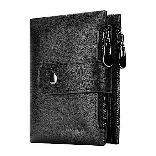 ARVOK Wallets Mens RFID Blocking Genuine Oil Wax Leather with 2 Zip Coin Pockets