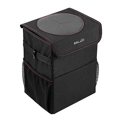 ELZO Car Trash Can with Lid and 3 Storage Pockets