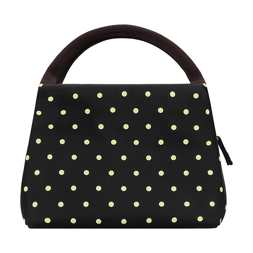 Philorn Reusable Insulated Lunch Bag Sturdy Oxford Box Tote, Black with Dots