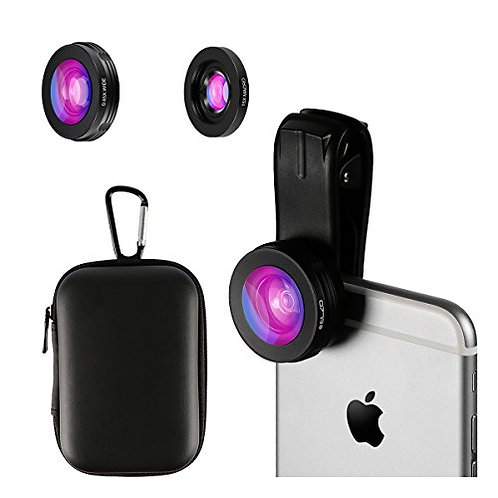 ELZO 2 in 1 Clip On Cell Phone Camera Lens, 0.45X Wide Angle Lens, 15X Macro Len