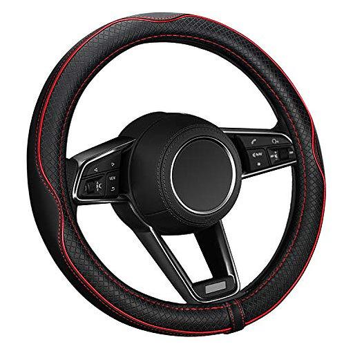 ELZO Car Steering Wheel Cover Genuine Leather, Universal 14.5-15 Inch/37-38CM