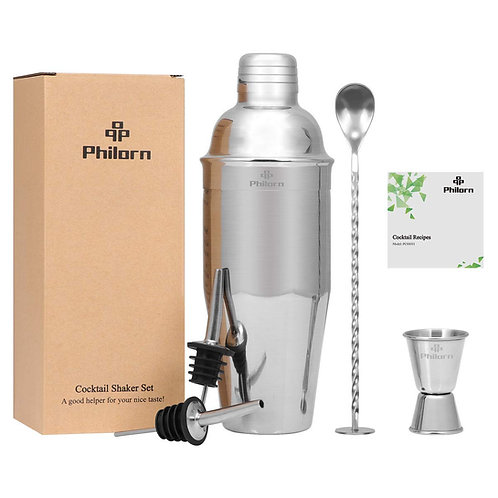 Philorn 5 Piece Cocktail Set 304 Stainless Steel 750ml Cobbler Shaker