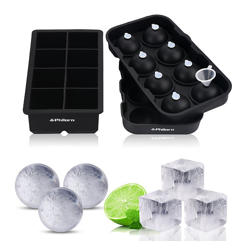 Philorn 2 Pack Ice Cube Trays Ice Ball Maker Mould Silicone Square Sphere