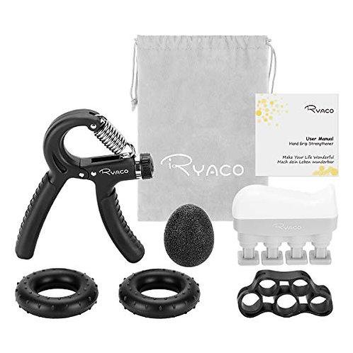 RYACO Hand Grip Strengthener set, 6 Pack 5-60kg R-shaped grip Forearm Exerciser