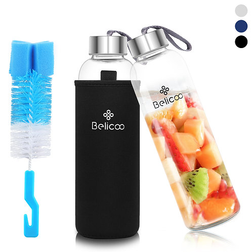 BELICOO BPA-Free Glass Water Bottle 550ml/18oz