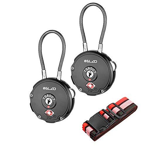 ELZO TSA Luggage Locks, Travel Security Cable Code Padlocks with Luggage Straps
