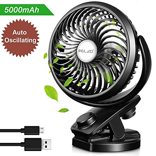 ELZO USB Fan, Clip on Fan & Rechargeable 5000mAh Black
