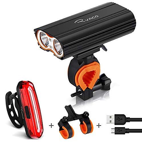 RYACO Bike Lights, USB Rechargeable Bicycle Headlight Light, Rear Light