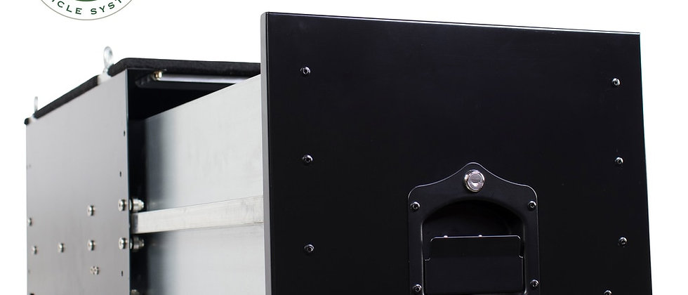 Universal Cargo Box w/ Slide Out Drawer Size • Black Powder Coat