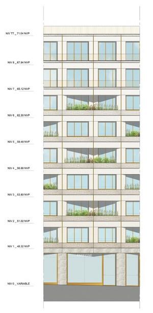 Geveldetaillering voor een woningbouwproject in Parijs