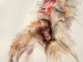 Watercolour Macaques