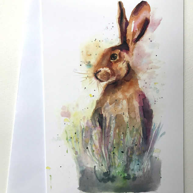 'Meadow Hare' Greetings Card