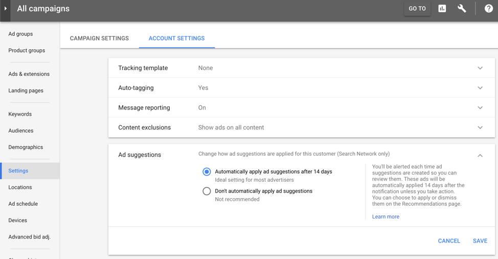 Google AdWords Ad Suggestions Settings